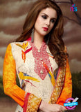 SC 13896 Beige and Maroon Glace Cotton Latest Designer Fancy Straight Suit