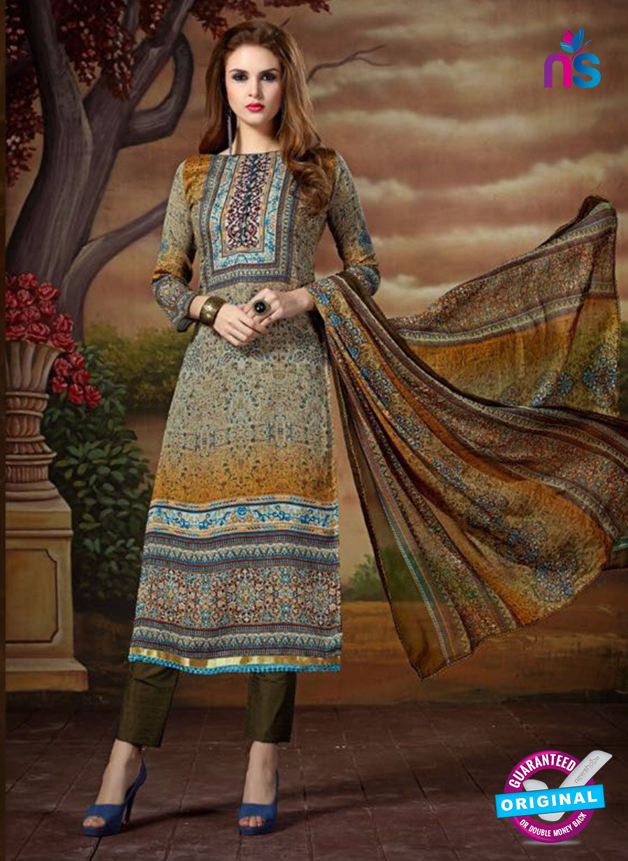 SC 13892 Grey and Multicolor Glace Cotton Latest Designer Fancy Straight Suit
