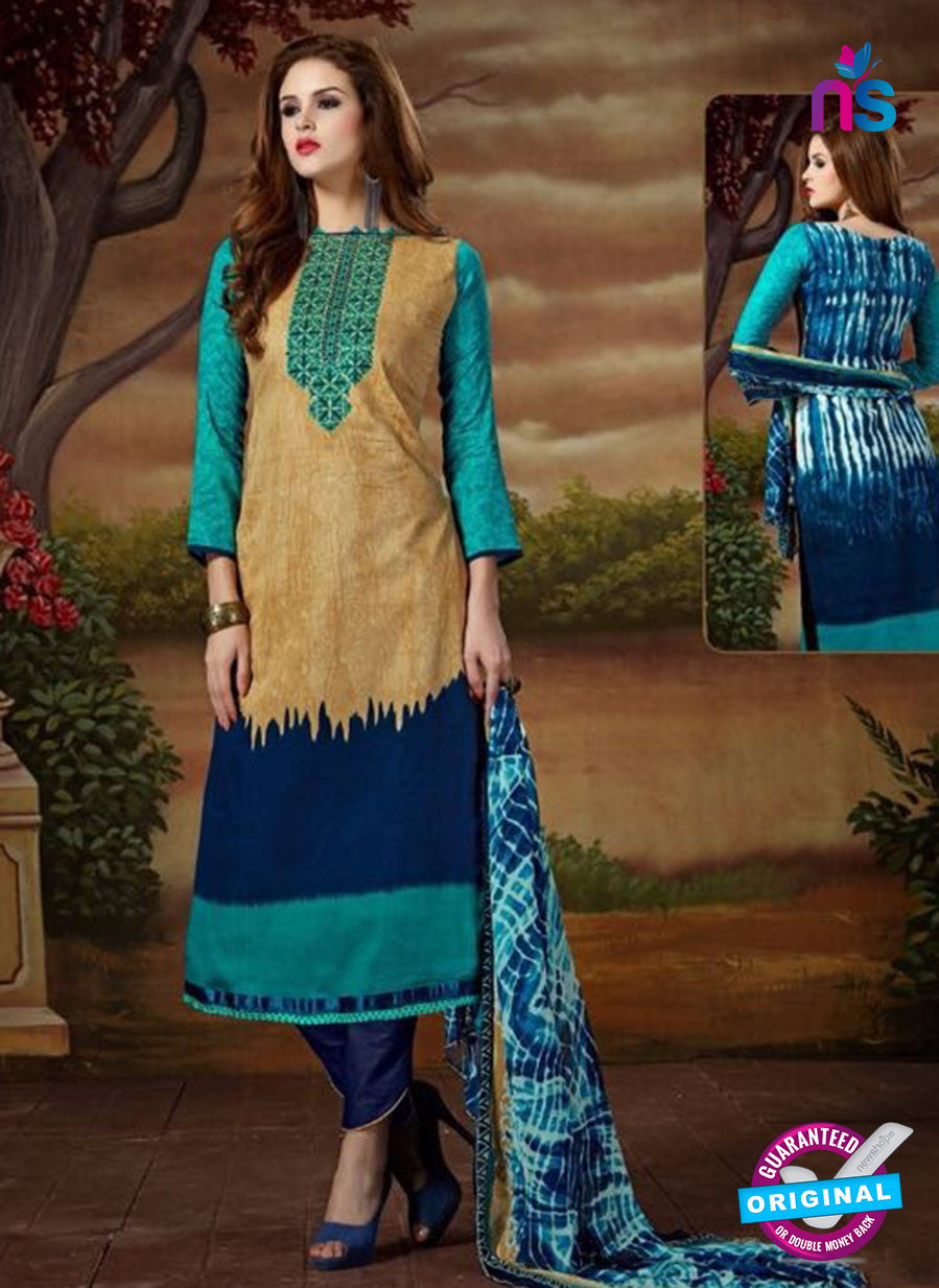 SC 13893 Beige and Blue Glace Cotton Latest Designer Fancy Straight Suit