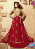 Maskeen 3101 Beige and Red Designer Embroidered Georgette/Net Party Wear Fancy Gawn