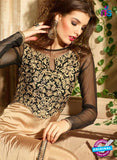 Maskeen 3107 Brown Designer Embroidered Pure Satin Party Wear Fancy Gawn