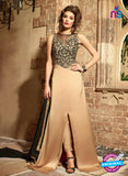 Maskeen 3107 Black and Brown Designer Embroidered Pure Satin Party Wear Fancy Gawn