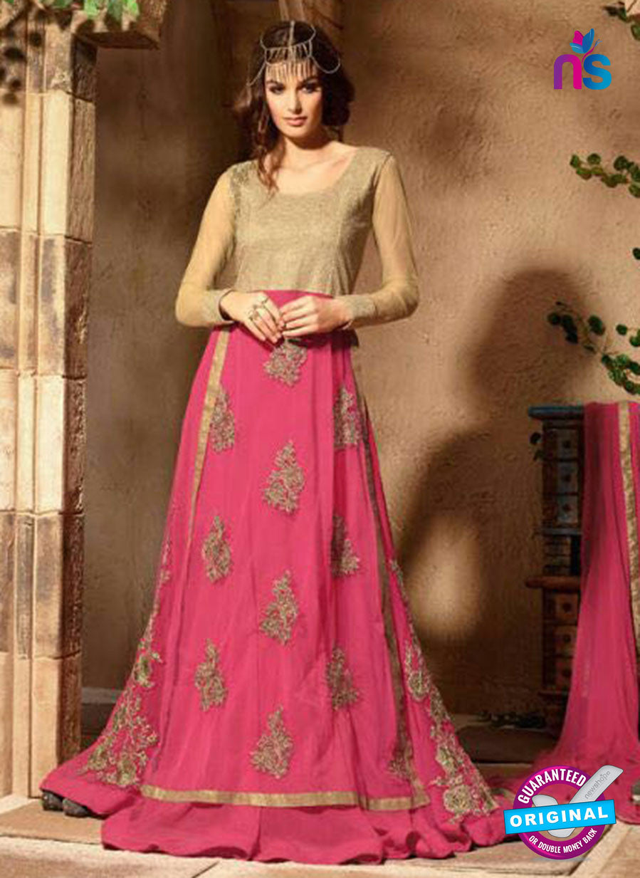 Maskeen 3108 Beige and Pink Designer Embroidered Georgette/Net Party Wear Fancy Gawn