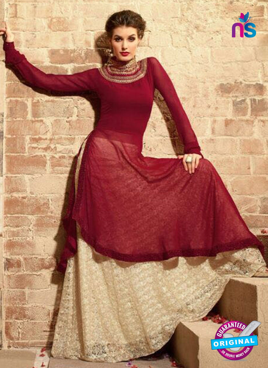 Maskeen 3109 Maroon and Pink Georgette Fancy Designer Suit