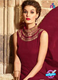 Maskeen 3109 Maroon and Beige Designer Embroidered Georgette Party Wear Fancy Gawn