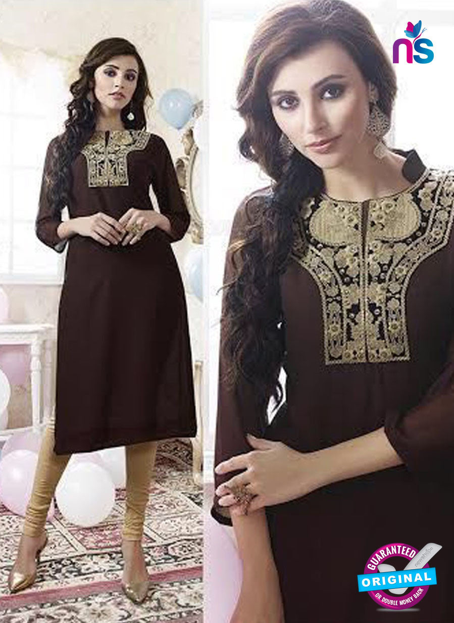 SC 13171 Brown Party Wear Embroidered Georgette Kurti