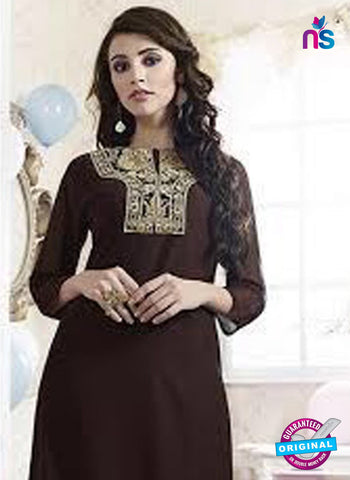 SC 13171 Brown Party Wear Embroidered Georgette Kurti Online
