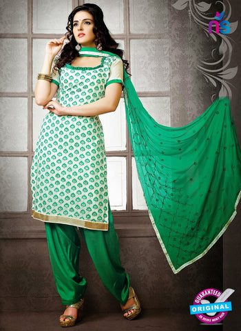 NS12222 Ivory and Green Chudidar Suit