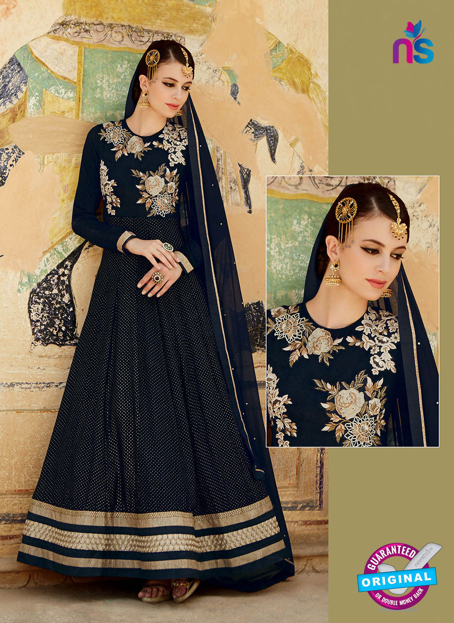 Kimora 3202 Black and Golden Color Net Anarkali Suit