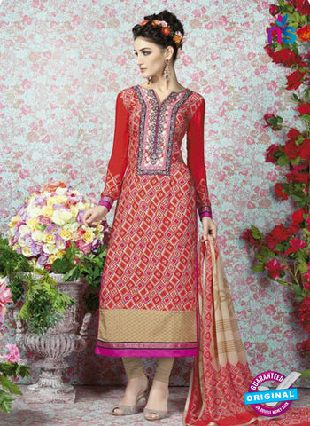 AZ 2323 Red and Beige Crepe Fancy Pakistani Suit