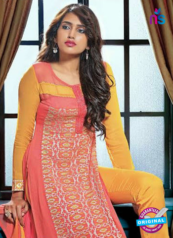 Ganga 3202 Peach and Yellow Color Georgette Designer Straight Suit Online