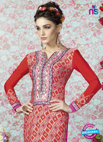 AZ 2323 Red and Beige Crepe Fancy Pakistani Suit Online