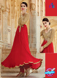 kimora 3204 brown and red Color Georgette Anarkali Suit