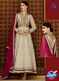 Kimora 3205 Beige and Maroon Color Net Anarkali Suit
