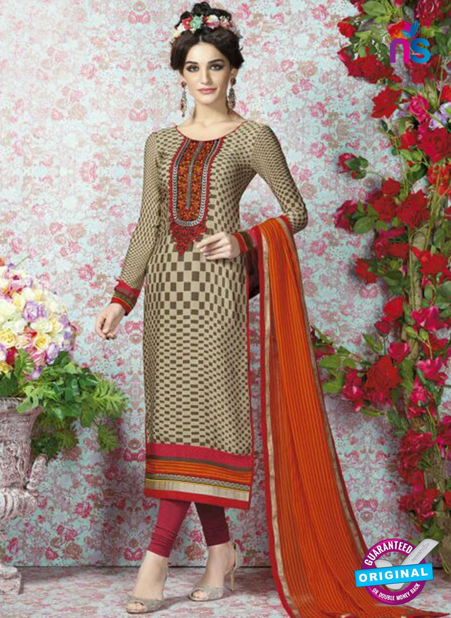 AZ 2326 Beige and Maroon Crepe Fancy Pakistani Suit