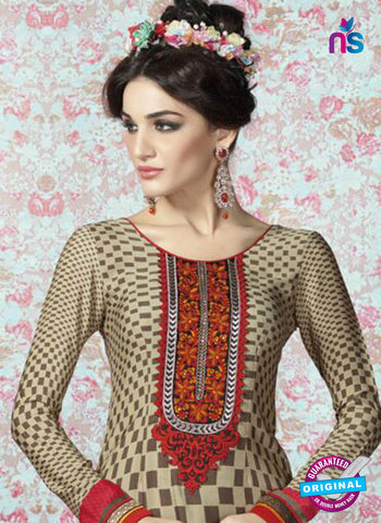 AZ 2326 Beige and Maroon Crepe Fancy Pakistani Suit Online
