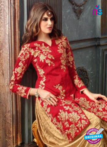 Maskeen 3205 Red and Beige Banarasi Fancy Patiala Suit