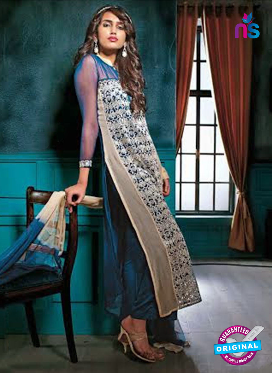Ganga 3206 Blue and Grey Color Georgette Designer Straight Suit