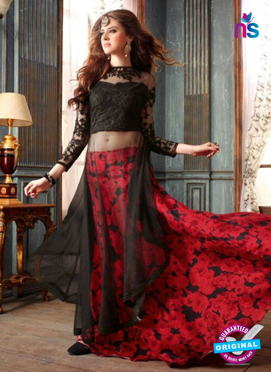 Maskeen 3206 Black and Red Net Fancy Indo Western Suit