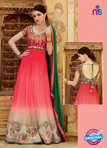 Kimora 3206 Pink, Green and Beige Color Net Anarkali Suit/Gawn