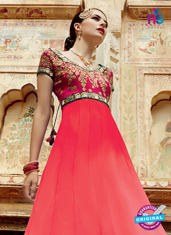 Kimora 3206 Red, Green and Beige Color Net Anarkali Suit/Gawn