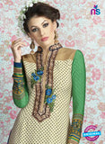 AZ 2328 Beige and Green Crepe Fancy Pakistani Suit Online