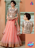Kimora 3207 Peach Color Net Embroidered Gawn