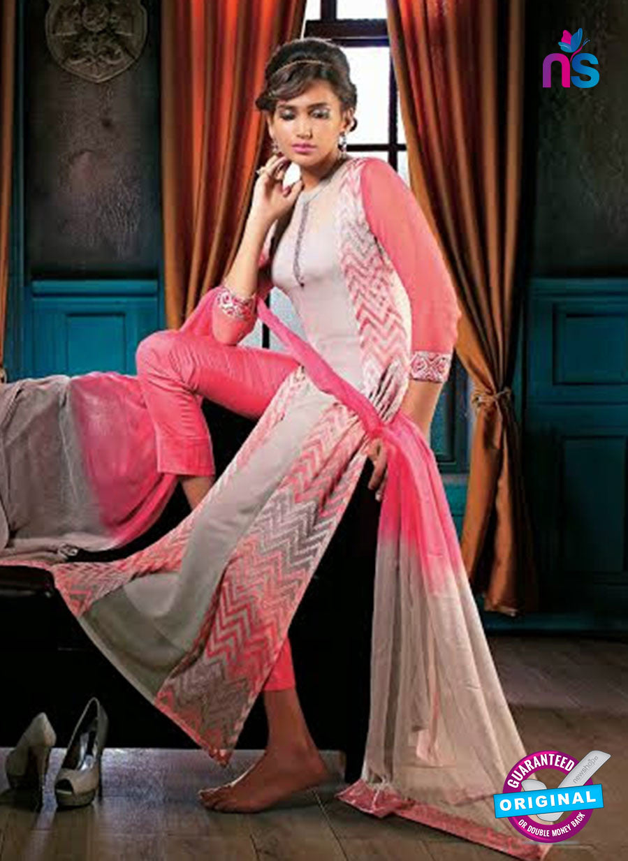 Ganga 3207 Pink and Grey Color Georgette Designer Straight Suit