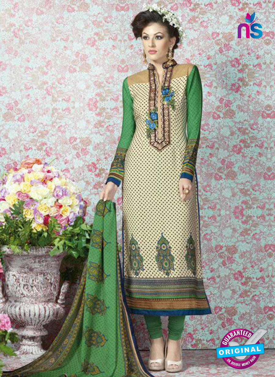 AZ 2328 Beige and Green Crepe Fancy Pakistani Suit