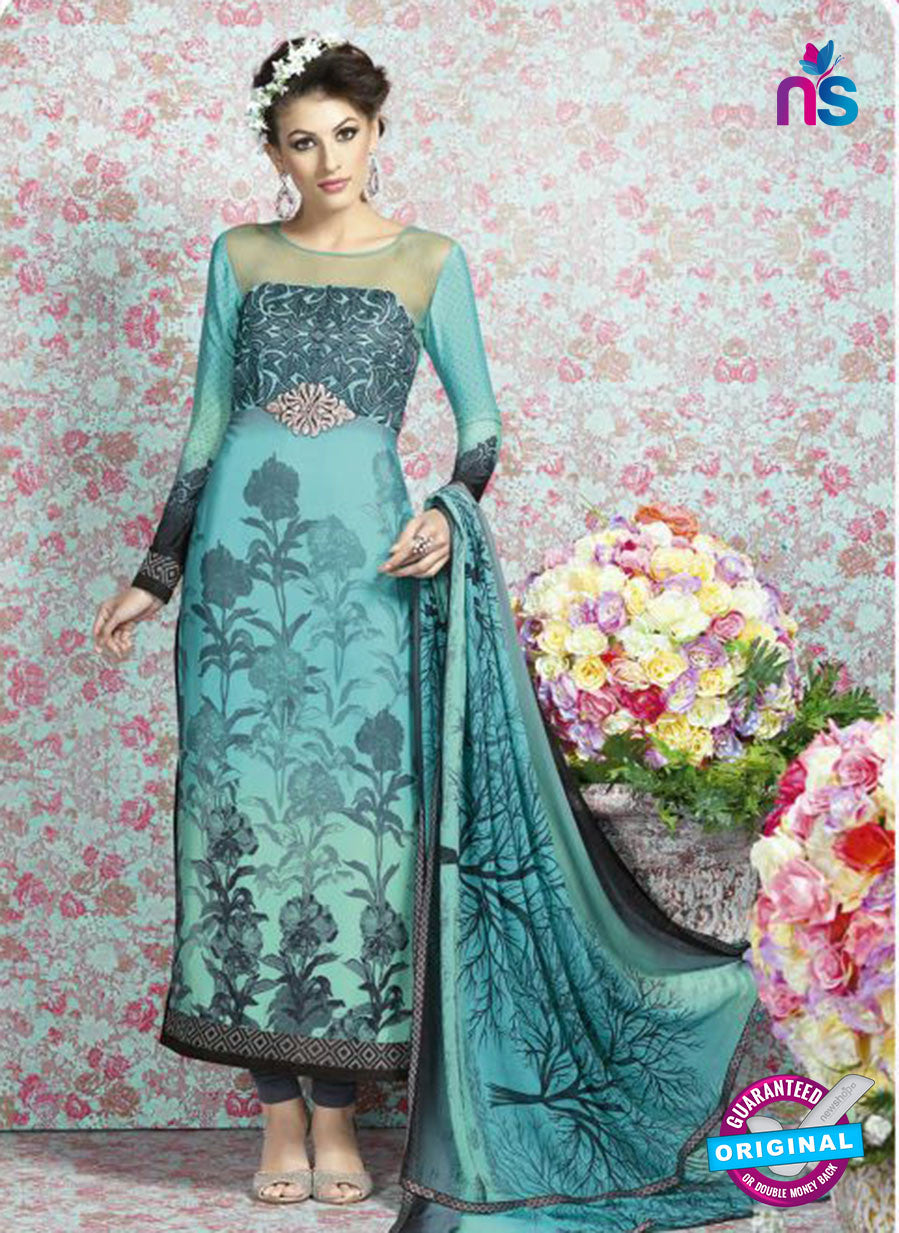 AZ 2329 Sky Blue and Grey Crepe Fancy Pakistani Suit
