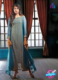 Ganga 3208 Blue and Yellow Color Georgette Designer Straight Suit
