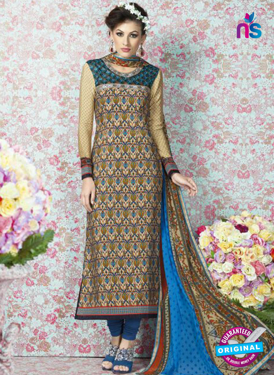 AZ 2330 Beige and Blue Crepe Fancy Pakistani Suit