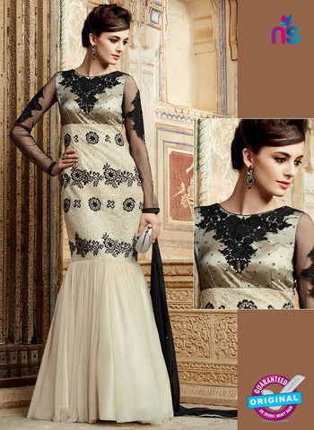 Kimora 3209 Beige and Black Color Net Gawn