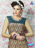 AZ 2330 Beige and Blue Crepe Fancy Pakistani Suit Online