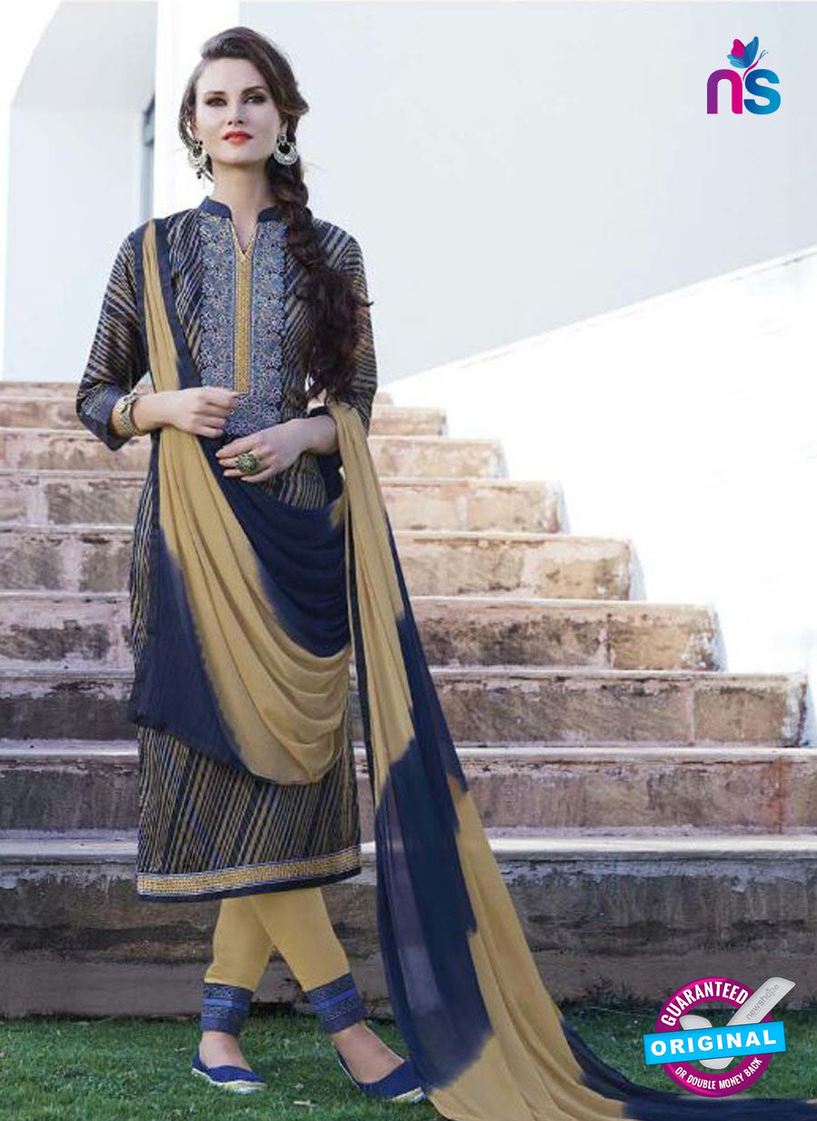 SC 12901 Blue and Brown Printed Embroidered Glace Cotton Straight Suit