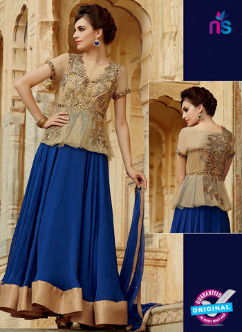kimora 3210 Brown and Blue Color Georgette Anarkali Suit/Gawn