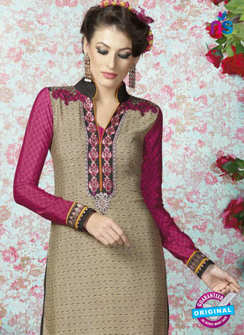 AZ 2332 Beige and Pink Crepe Fancy Pakistani Suit Online