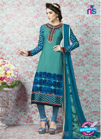 AZ 2333 Sea Green and Blue Crepe Fancy Pakistani Suit