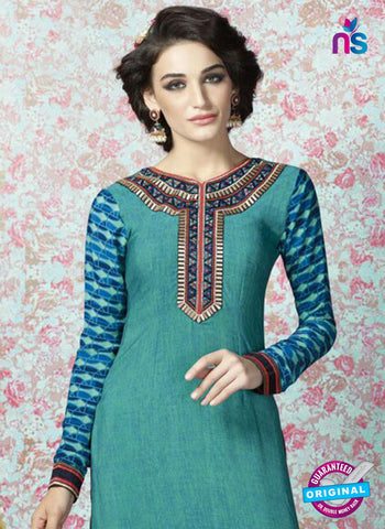 AZ 2333 Sea Green and Blue Crepe Fancy Pakistani Suit Online