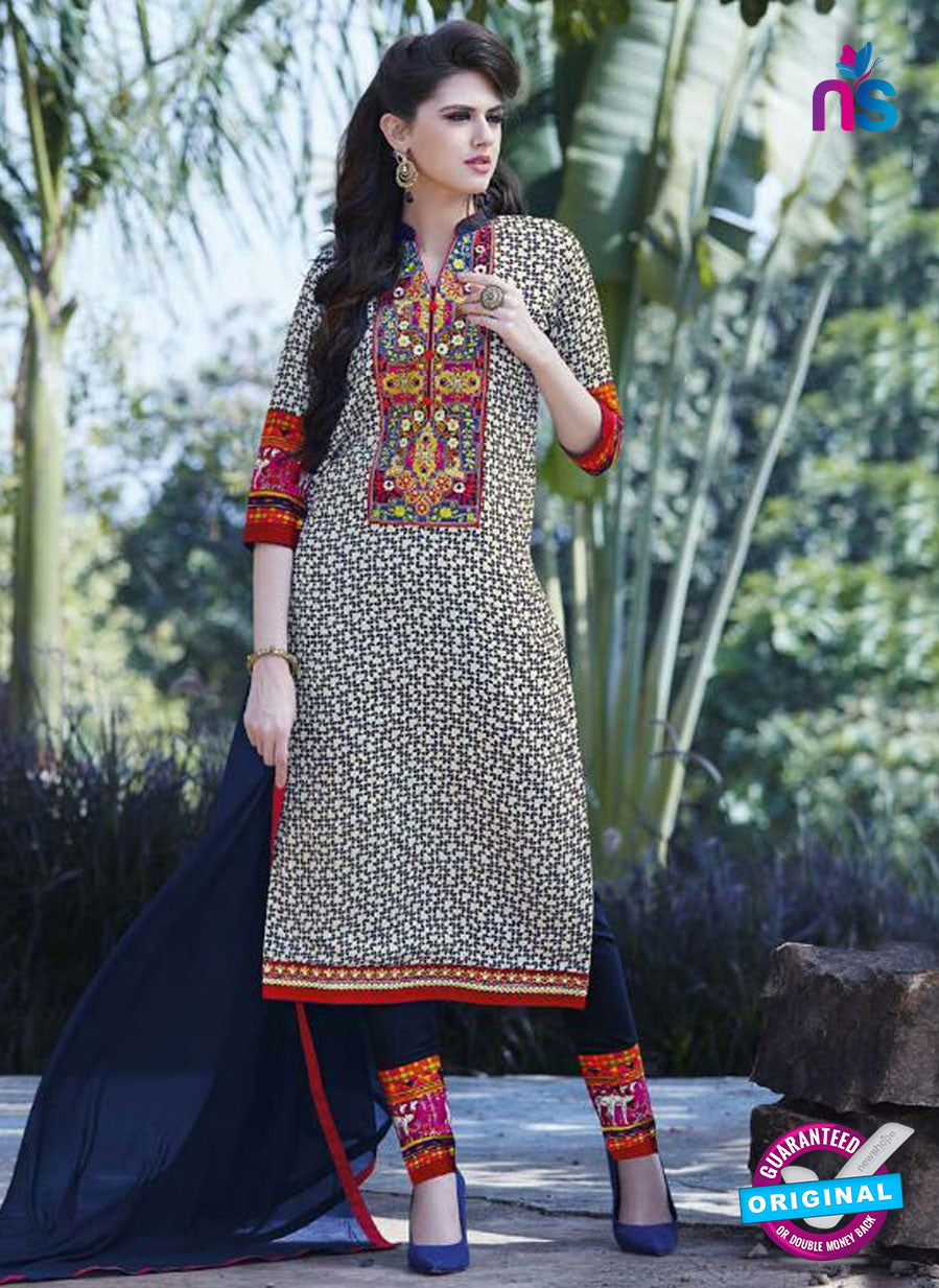 SC 12902 White and Blue Printed Embroidered Glace Cotton Straight Suit