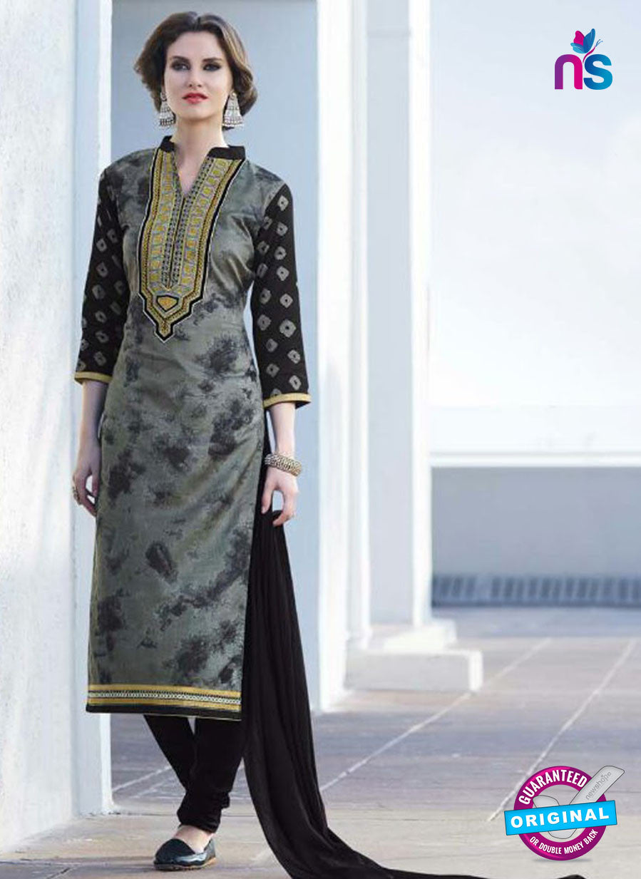 SC 12912 Black and Grey Printed Embroidered Glace Cotton Straight Suit