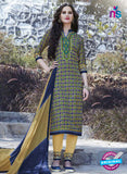 SC 12906 Green, Blue and Beige Printed Embroidered Glace Cotton Straight Suit
