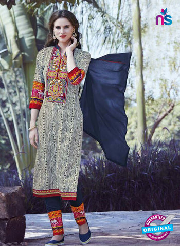 SC 12914 Multicolor and Blue Printed Embroidered Glace Cotton Straight Suit