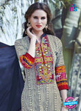 SC 12914 Beige and Blue Printed Embroidered Glace Cotton Straight Suit Online