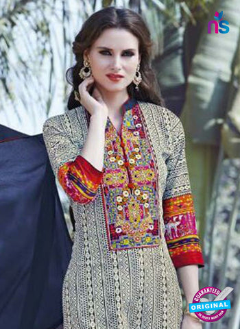 SC 12914 Beige and Blue Printed Embroidered Glace Cotton Straight Suit