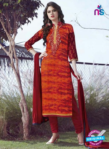 SC 12907 Orange and Maroon Printed Embroidered Glace Cotton Straight Suit