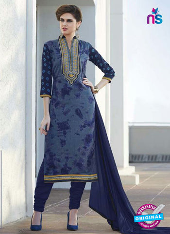 SC 12915 Blue and Grey Printed Embroidered Glace Cotton Straight Suit