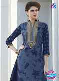 SC 12915 Blue and Grey Printed Embroidered Glace Cotton Straight Suit Online