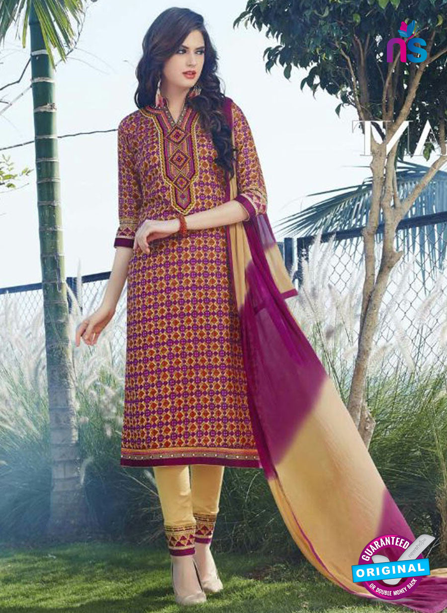 SC 12903 Purple and Yellow Printed Embroidered Glace Cotton Straight Suit