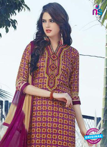 SC 12903 Purple and Yellow Printed Embroidered Glace Cotton Straight Suit Online